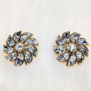 Jewelry - Crystal Flower Statement Earrings